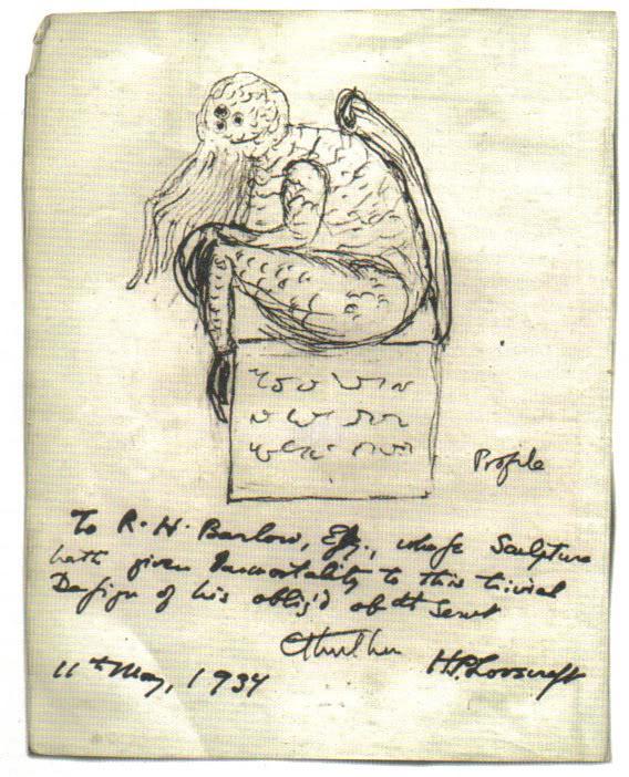 Dibujo de Cthulhu, hecho por Lovecraft