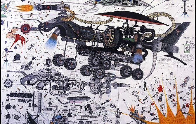 Abu Bakarr Mansaray: 'La resurrección de los alienígenas' (2004), dibujo sobre papel.