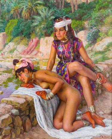 Jovenes bañistas en las riberas del oued