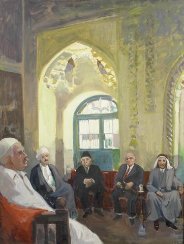 Kadhim Hayder (Irak, 1932-1985): Al-Khafafin Coffee House Baghdad