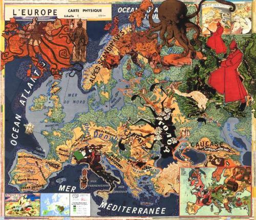 Europe (2012). Acrílico, collage, impresión de tinta. © Joyce Kozloff.