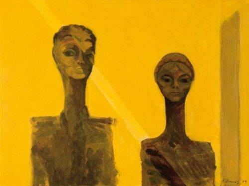 Parella de llum (2009). Óleo sobre papel.