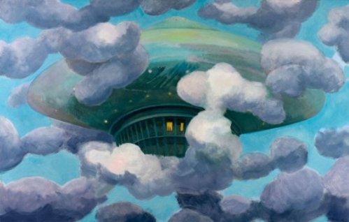 Plat volador II (2009). Óleo sobre tela.