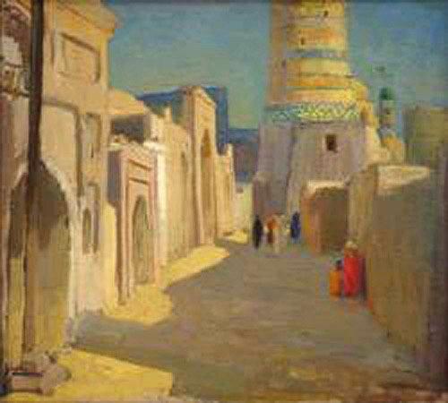 Igor Savitsky (1915-1984): Calle de la antigua Khiva. Óleo sobre cartón.