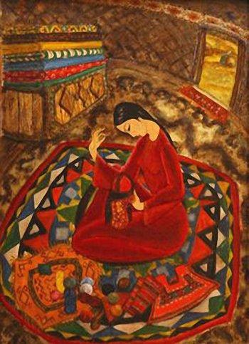 Galiy Abdurakhmanova (1956-): En la yurta (1979). Óleo sobre cartón.