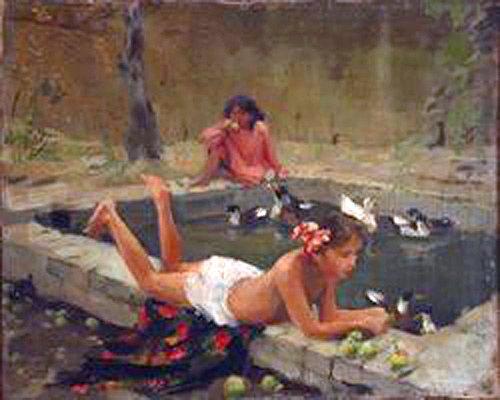 Zinaida Kovalevskaya (1902-1979): En el khauz (estanque). Óleo sobre lienzo.