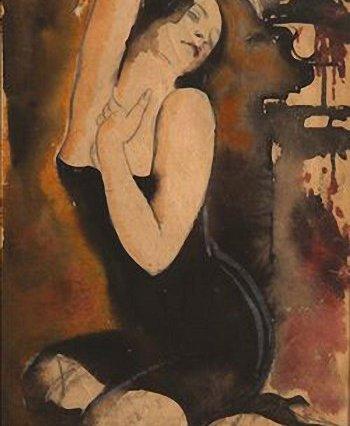 Sergey Luppov (1883-1977): Mujer sentada con traje de baño negro. Acuarela sobre cartón.