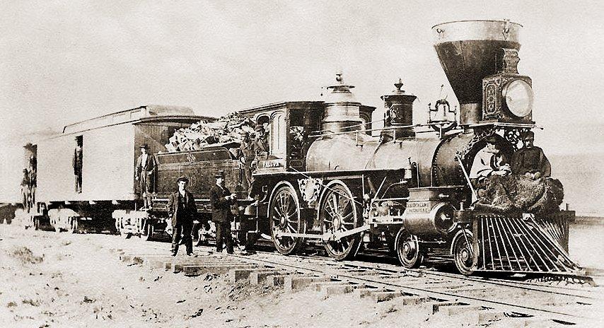 Locomotora 113, Falcon, de la Central Pacific, en Argenta, Nevada. Foto: John B. Silvis, 1869.
