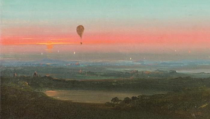 Ascensione in mongolfiera nella campagna romana, 1847
