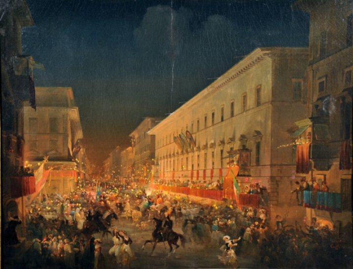 Carnevale di Roma. La festa dei moccoletti, 1837