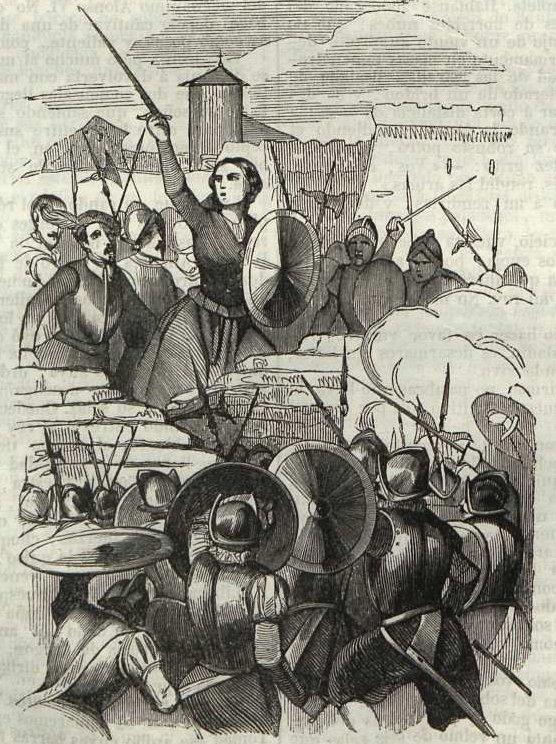 María Pérez la Varona en plena batalla, ilustración de la revista Semanario Pintoresco Español nº 11, de 12 de marzo de 1848.