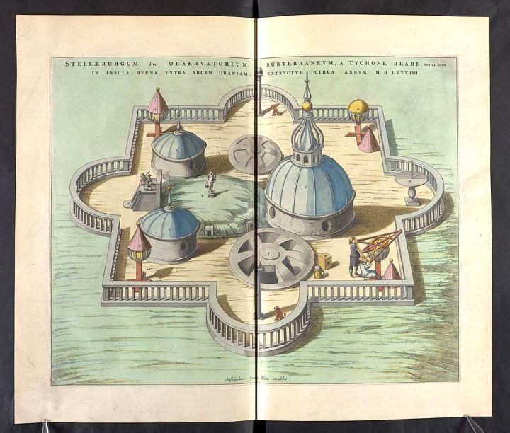 Atlas Maior, Vol. 1, mapa 29: Observatorio astronómico de Tycho Brahe, en la isla de Hven, actualmente Suecia.